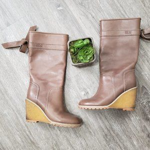 See By Chloe Leather Wedge Boots Taupe 37